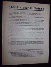 POLITIQUE FRANCE 1933 UNION POUR LA NATION HENRY FRANKLIN-BOUILLON