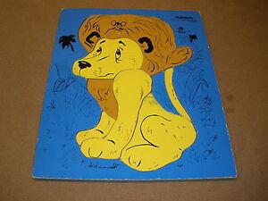 vintage Playskool LION wood tray PUZZLE