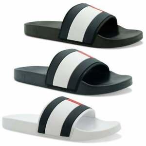 Tommy Jeans Mens Essential Flag Slides (Black, Blue, White)