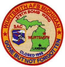 USAF AFB PATCH, WURTSMITH AFB MICHIGAN, 379TH BW, SAC, GONE BUT NOT FORGOTTEN  Y