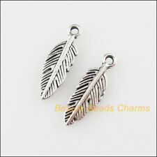 25Pcs Tibetan Silver Tone Tiny Leaf Feather Charms Pendants 4.5x14.5mm