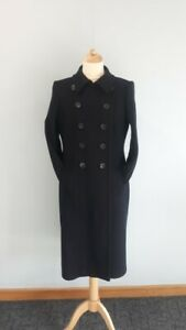 PLANET Double Breasted WOOL CASHMERE Blend NAVY BLUE Coat Size uk 16