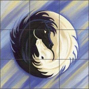 Floor Tile Medallion Mural McElroy Horse Equine Yin Yang Art KMA063