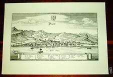 Bregenz alte Ansicht Merian Druck Stich Panorama 1650