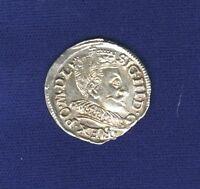 POLAND/LITHUANIA SIGISMUND 1593 3 GROSCHEN/GROSSUS)(TROJAK) SILVER COIN, XF/AU