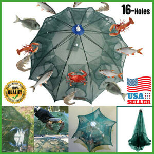 USA Fishing Bait Trap Crab Net Crawdad Shrimp Cast Dip Cage Fish Minow Foldable