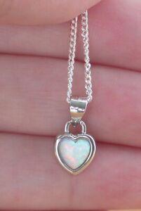 Sterling Silver White Opal Heart Pendant & Chain/Silver Opal Heart Necklace/UK
