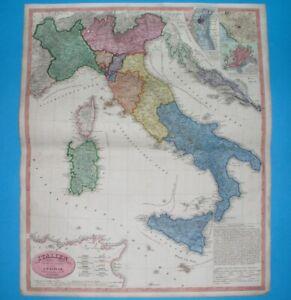 1844 ORIGINAL MAP ITALY SICILY TUSCANY NAPLES PIEDMONT FRIULI VENETO ROME MALTA