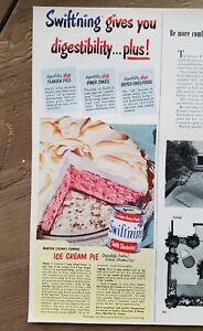 1952 Swift's Swiftning shortening Martha Logan's ice cream pie food ad