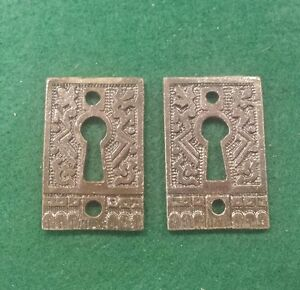 PAIR Keyhole covers CAST IRON Victorian Style Pattern.