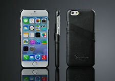Black Genuine Lychee Leather Card Slot Protective shell case for Iphone 6 6 4.7""