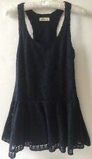 Hollister Women's Size Small / UK 8 Navy Skater Back Lace Overlay Summer Dress