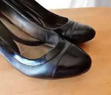EUC SIZE 10 M NATURALIZER N5 Comfort Pumps Heels Shoes Black Leather Patent Trim