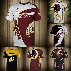Washington Redskins Mens T-shirt Summer Casual Short Sleeve Tee Top Shirts S-5XL