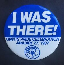 """Ny Giants 1986 1987 Super Bowl Pin I Was There Button Rare Phil Simms Mvp  3 """""""