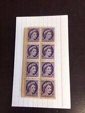 1954 Canada UNCANCELLED BLOCK OF (8)  Queen Elizabeth II - 4 cent- LOOK WOW- 16A