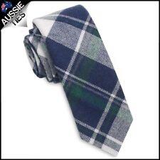 Dark Blue, Green & White Tartan Plaid Skinny Tie