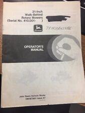 "JOHN DEERE OPERATOR'S MANUAL 21"" WALK-BEHIND ROTARY MOWERS OM-M73861 ISSUE A7"
