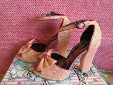 Irregular Choice Heels Flaming June Pink Glitter Bow Size 5 38 Bnib New