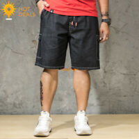 Men's Black Stretch Cargo Denim Shorts Distressed Loose Short Jeans Plus Size
