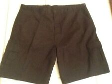 "Mens Size 48 Classic Fit Flat Front Black Cargo Shorts 10"" Inseam NWT"