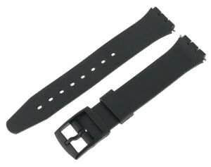 Black Swatch Style All Resin Replacement Watch Strap 17mm and 12mm