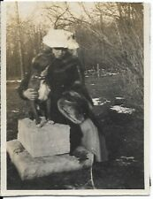 Pit Bull Vintage Photo Victorian Era Lady And White Chested Pit Bull Outside