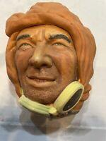 Vintage Bossons Legends England Chalkware Character Head Aviator Pilot
