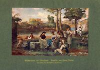Wäscherinnen am Tiber Strand Kunstdruck 1918 v. Franz Dreber † Anticoli Corrado