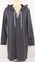 TOMMY HILFIGER Women's Striped Hooded Sweatshirt Dress, Navy Blue, S M L
