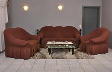 Sofabezug Sesselbezug Sitzbezug 3er+2er+1er Sofa Bezug Husse Spannbezug braun