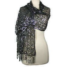 DreamKeeper Fairy Queen Sequin Shawl *Shimmering Silvertone & Black*