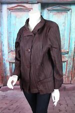 Roni Rabl Small S Maroon Crinkle Nylon Asymmetrical Button Lagenlook Jacket Top