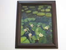 ANTIQUE LILY POND PAINTING ON BOARD  1940'S VINTAGE SIGNED MYSTERY ARTIST