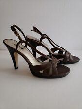 776ddd4cb3c Diba Cicely Brown Leather Strappy Stiletto Sandal Heel Sz 9