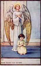 Angel Religious Child birthday Cicely M Barker postcard size  1920/30's S P C K