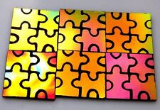 AUTISM AWARENESS SET OF 6 ETCHED DICHROIC GLASS (EA4) CBS COE 90 FUSING SUPPLY