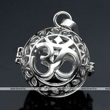 Silver Chime Sounds OM Symbol Cage Mexican Harmony Ball Locket Pendant DIY