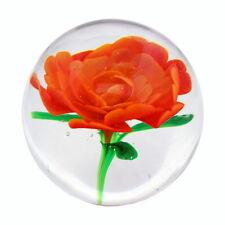 Paper weight Art Glass Rose Red Flower Hand Made Gift