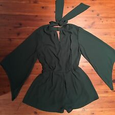 CHICWISH Playsuit Size S Romper Jumpsuit Green Short Bell Sleeves Party New