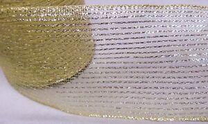 """5 Yds. GOLD METALLIC MESH RIBBON  2 1/2"""" Wide"""