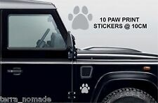 10 PAW PRINT STICKERS Car Wall Stickers Decals Graphics Cat Dog SILVER