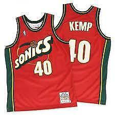 Shawn Kemp Seattle Sonics 40 RED NBA Basketball Swingman Jersey shirt