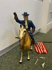 Vintage Hartland Plastics, Inc. General George Custer Figure with Horse and Flag