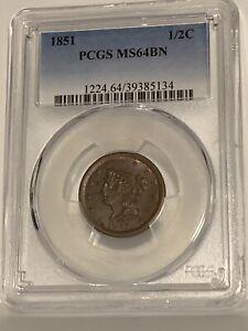 1851 1/2C C-1, R.1 PCGS MS64BN. LOOKS RB!!