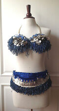 Authentic Vintage Belly Dance Dancing Outfit Costume - Top & Belt - Blue