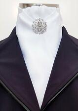 ERA Deb Soft Pleat Design Stock Tie - White Ribbed Satin Stock Tie & Brooch