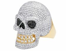 10K Yellow Gold Real Diamond Iced Movable Jaw Skull Statement Ring 3 3/10CT 34MM