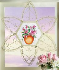 Lacy Metal Hanging Wall Art Pink Blossoms on Frosted Glass Gifts Her Sister Mom
