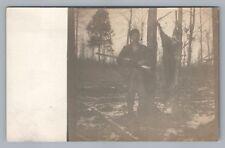 Pipe-Smoking Hunter RPPC Logan Ohio—Deer Hunting RIFLE Antique Photo AZO 1910s